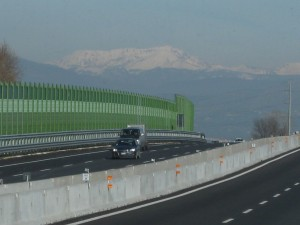 Road on the way to Perugia - not sure what mountains are in the background.
