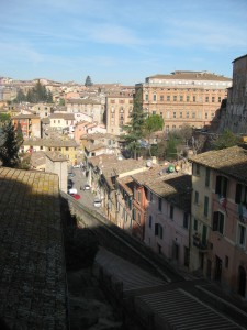 Overlooking part of Perugia, the big building in the background is the University for Foreign Students.