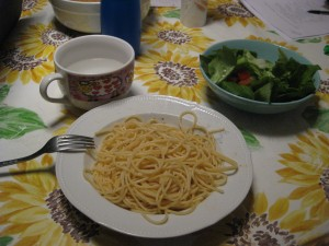 My first meal for myself (my family knows what I put on my spaghetti - my dad's recipe)