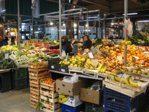 Inside a large indoor food market - lots of interesting foods both fresh and packaged!