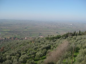 Overlooking the countryside in Cortona!