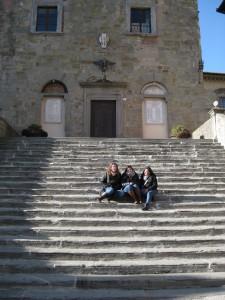 Sitting on the steps in Piazza della Repubblica.