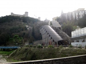 The escalators leading up to Rocca Albornoziana - a former papal fortress turned prison turned museum.