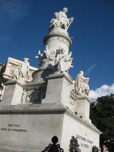 A statue commemorating Christopher Columbus.