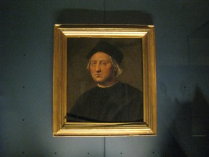 A painting of Christopher Columbus.  There was a room dedicated to him because of his connection with Genoa.
