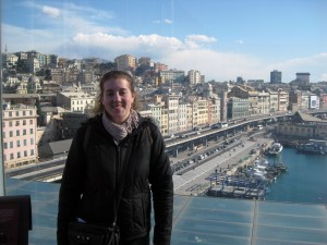 On the last floor of the sea museum there is a lookout over the city - it was beautiful!  So I asked someone to take a picture of me with the city.