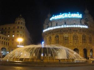 Piazza de Ferrari! In between those two big buildings is a main shopping street.
