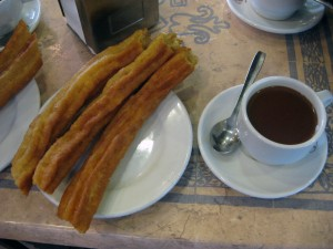 Churros (technically porras) and hot chocolate! Sooo yummy!