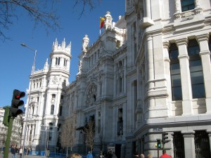 Outside of the Palacio de Cibeles - such a beautiful building against the blue sky!
