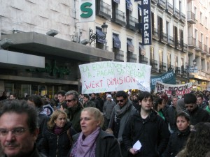 While we were in Madrid there were several protests going on - this was one of them.  Apparently this day 40 people were arrested during the protests.