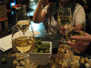 Delicious wine and olives at the vinoteca!