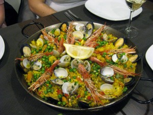 Paella de Marisco at 10:30 pm (a normal Spanish dinner time) sooo yummy!