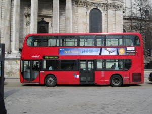 A double-decker red bus!
