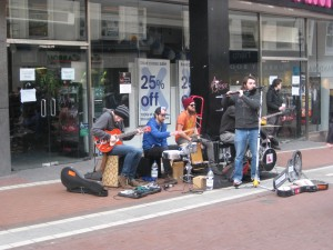 This was a band playing on Grafton Street, a big shopping area in Dublin.