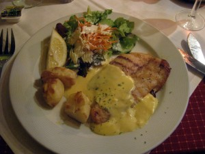 Sea bass with potatoes and salad - yum!