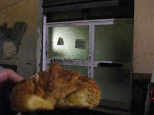 The late-night croissant - a little blurry because of the lighting, unfortunately.  You knock on the doors in the back to get them!