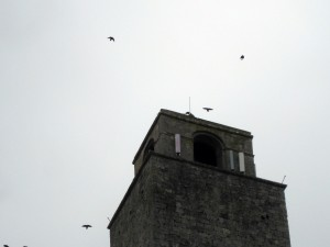 These birds (perhaps crows?) were flying around the towers all day, giving the place a slightly eery feel.