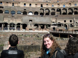 Standing in the section where the emperors would have sat!