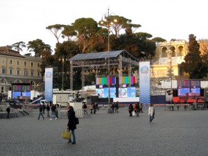 In Piazza del Popolo - there were political demonstrations going on.