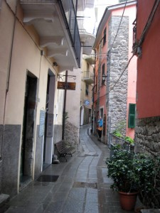 Walking down the narrow streets of Corniglia.