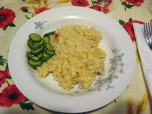 Easter dinner of seafood rice and zucchini.