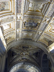 The inside of Doge's Palace - this ceiling in the entryway has gold!  That's one way to welcome people... or show off power.
