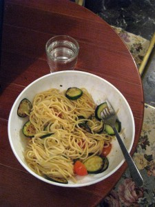 My dinner on Friday - spaghetti, tomatoes, and zucchini.
