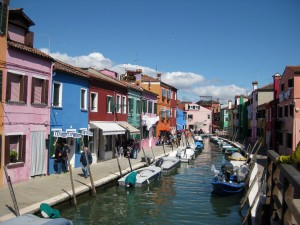 A view of Burano!  You can see how colorful the houses are.