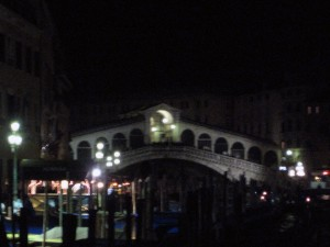 The Rialto at night.