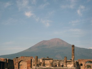 Another view of Vesuvius!  There are some temple ruins in front.