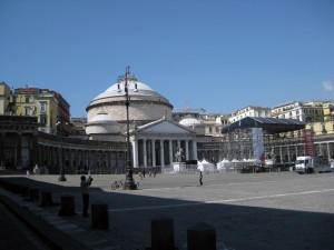 Piazza Plebiscito - the church in the distance is famous in Naples.  It is called the church of San Francesco di Paola.
